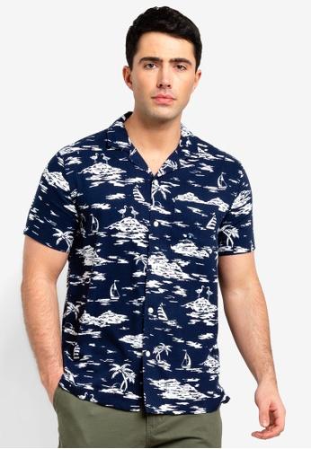 Abercrombie & Fitch 海軍藍色 短袖印花襯衫 3C658AA41CF7A2GS_1