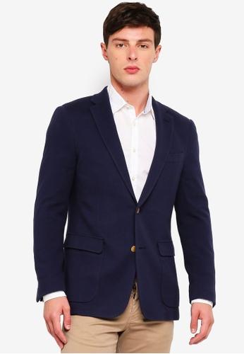 Brooks Brothers 海軍藍色 Red Fleece Pique Blazer Jacket 9639AAA5CCB4ABGS_1