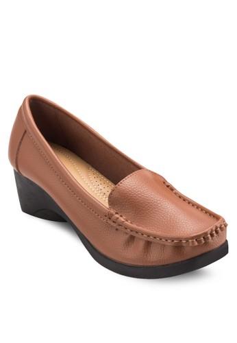 esprit 評價沖孔高跟莫卡辛鞋, 女鞋, 厚底高跟鞋