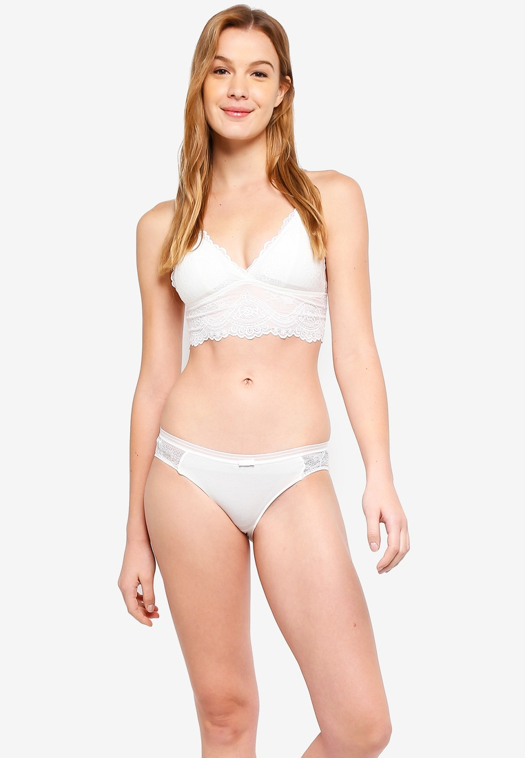 White 6IXTY8IGHT Scalloped Bralette Lace Band TIwn7ICq