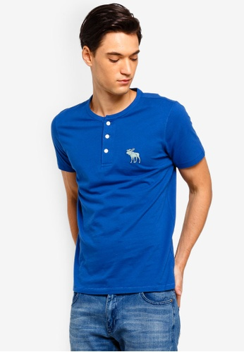 2d88e12c8b733 Abercrombie   Fitch blue Exploded Icon Henley T-Shirt 4746EAA5FC2F0DGS 1
