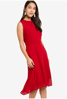 16bbfa252a981 ZALORA red Evening Overlayed Chiffon Midi Dress E517CAA3C7D673GS_1