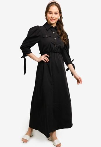 Lubna black Leisure Buttoned Dress 3781EAA72D38A4GS_1