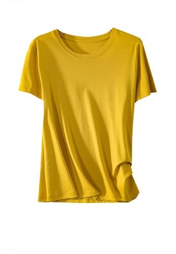 Twenty Eight Shoes yellow VANSA Round Neck Mercerized Cotton Short-sleeved T-Shirt VCW-Ts1902U 7265CAAE18727EGS_1