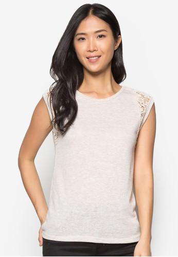 zalora 心得 pttOat Textured Lace Shoulder Tee, 服飾, 服飾