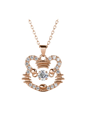 Her Jewellery gold 12 Dancing Zodiac Pendant (Tiger) RG - Made with premium grade crystals from Austria 1BA7AAC685E804GS_1