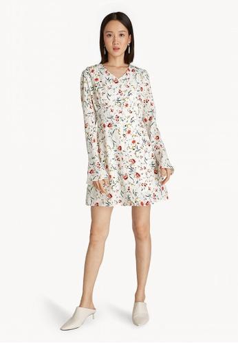 Pomelo White Mini Flared Fl Dress D6c45aa4f0f04bgs 1
