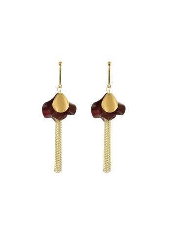 La Miina gold Annmarie Petals Long Earrings 3AD5BAC3789D51GS_1