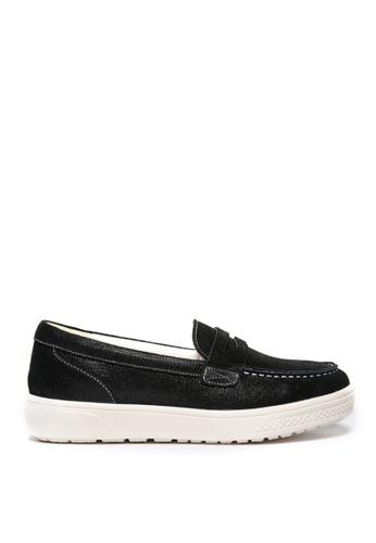 messe 黑色 真牛皮輕量釋壓經典平底樂福鞋 ME601SH09Q4VTW_1