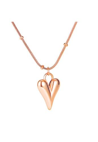 Bullion Gold 金色 BULLION GOLD Lovey Peach Dual Chain Golden Pendant Necklace in Rose Gold Layered Steel Jewellery 791D8ACF089B82GS_1