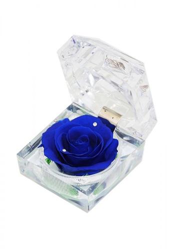 Her Jewellery blue Everlasting Preserved Rose - Rose in Ring Box (September, Sapphire) B5374HLAEB3025GS_1