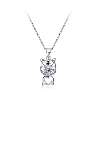 Glamorousky white 925 Sterling Silver Fashion Cute Cat Pendant with Cubic Zircon and Necklace 3E62EAC3150854GS_1
