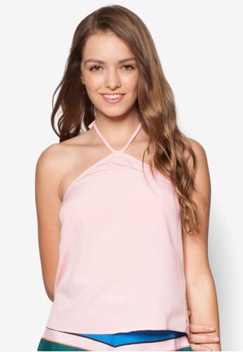 Miss Selfridge pink Pink V Neck Halter Top MI665AA28TPJMY_1