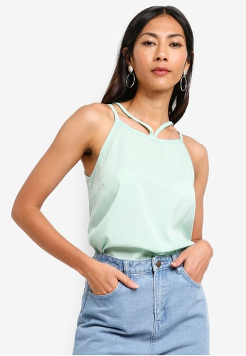 ZALORA BASICS green Basic Double Strap Cami Top 78064AAD19B570GS_1
