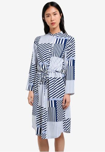 ZALORA blue and multi and navy Midi Shirt Dress 16AC3AADE2AC3FGS_1