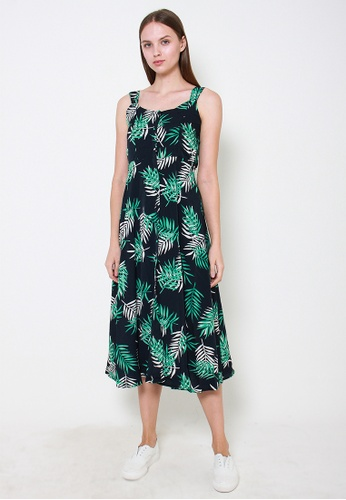 Leline Style green and blue Lucille Prints Dress 26F21AA8B390C8GS_1