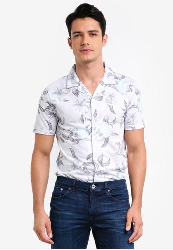 River Island beige Printed Revere Shirt 729FCAA0F1A003GS_1