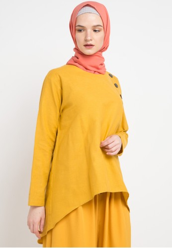 ZAHRA SIGNATURE yellow L/S Linen Blouse Buttons 9CF56AA6F5CC53GS_1