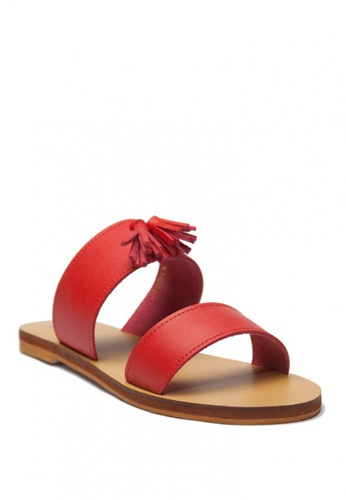 Ohrelle red Jessie Double Band Sandals with Tassle CBB16SHD0EBC73GS_1