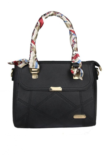 DNJ black Kendra Tote Bag with Scarf DN487AC0JFNWPH_1