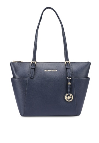 Michael Kors navy Jet Sel Large Saffiano Leather Top Zip Tote Bag (zt) CA413AC304DB6EGS_1