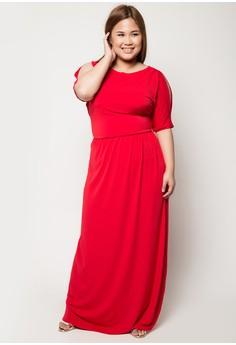 Plus Size Venus Cut-Out Shoulder Maxi Dress