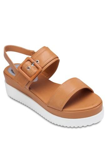 雙帶繞踝厚底涼鞋zalora 包包 ptt, 女鞋, 涼鞋