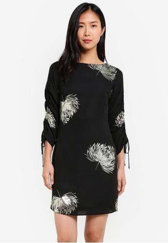 Dorothy Perkins black Black And Gold Print Shift Dress DO816AA0S7AJMY_1