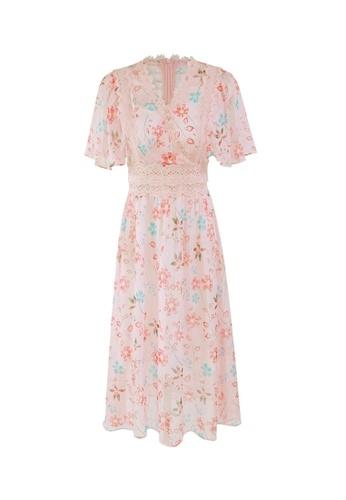 HAPPY FRIDAYS High Waist Printed Chiffon Dress 67105 59021AA9E6853FGS_1