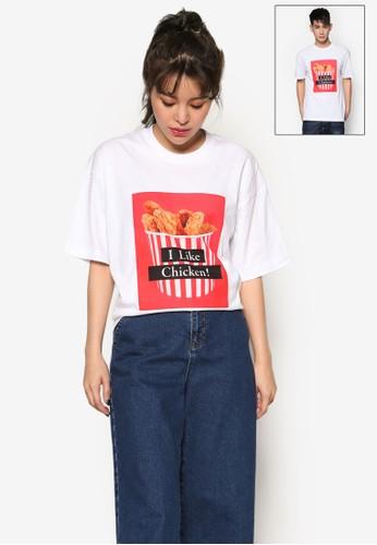 I likesprit outlet台北e Chicken 圖文設計T 恤, 服飾, 上衣
