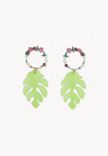 Pomelo green Leaf Shaped Hoop Drop Earrings - Green AAFC0ACEE54DC3GS_1