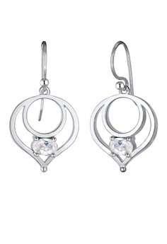 Dangle Circle Geo Zirconia 925 Sterling 銀 耳環