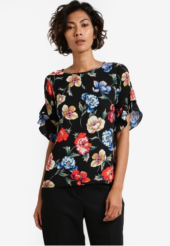 Dorothy Perkins black Petite Floral Ruffle Sleeve Top DO816AA0RCH8MY_1