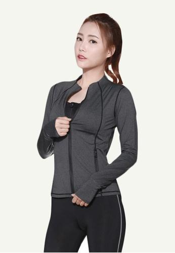 B-Code grey ZYG5066-Lady Quick Drying Running Fitness Yoga Sports Bra, Jacket and Leggings Three Pieces Set-Grey 9B0FDAADD50DE6GS_1