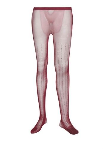 印花條紋微透褲襪, 服飾, zalora 順豐襪子