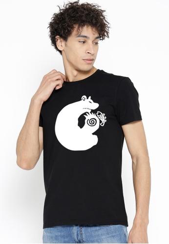 Greatvalueplus black Sloth Men's Round Neck Statement T-Shirt 53BD4AA1B77DA9GS_1