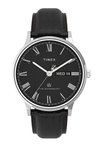 Timex black Timex Waterbury Classic Day/Date 40mm Leather Strap Watch - Stainless Steel, Black (TW2U88600) B4505ACF5F47A1GS_1