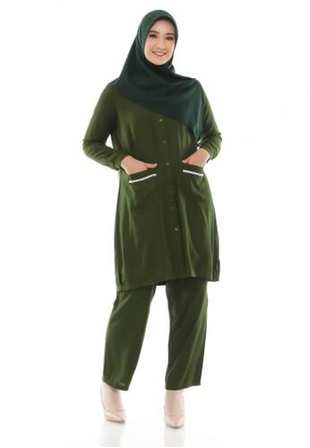 ZAYIDAN green Tunic Set Shakila - Army C0D4DAAD98A957GS_1