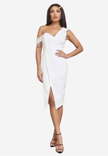 Lavish Alice white One Shoulder Diamante Trim Wrap Midi Dress 0938BAA22A638AGS_1