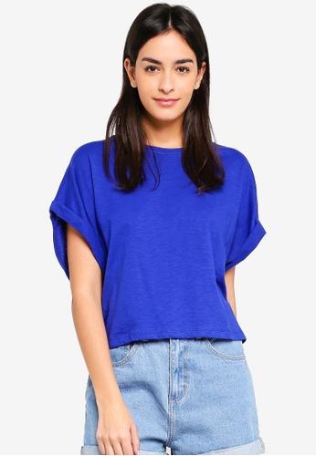 UniqTee blue Solid Colour Cropped T-Shirt 3B55CAA0D9082DGS_1