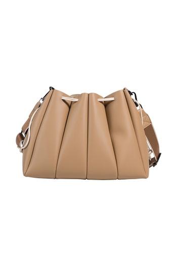 Lara brown Women's Stylish Drawstring Pleated Bucket Bag - Khaki BB67EACD8C7616GS_1