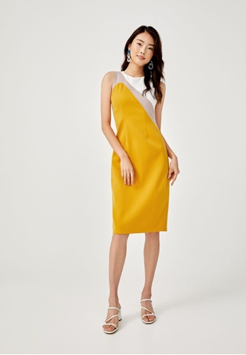 Love, Bonito yellow Camdynne Colour Block Pencil Dress E3E10AAF5EBA02GS_1