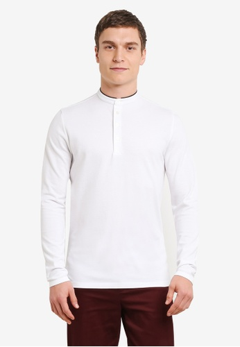 Selected Homme white Dedan China Long Sleeve Polo Shirt SE364AA0SE4AMY_1