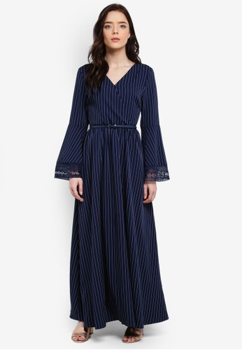 Zalia navy Lace Trim Wrap Dress 9D076AA4E76023GS_1