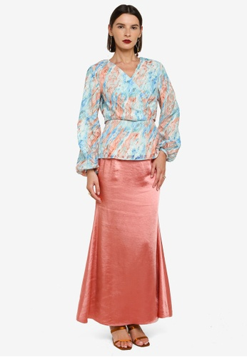 Zalia 粉紅色 and 藍色 Drape Wrap Top Kurung D3F00AA88EDB6DGS_1