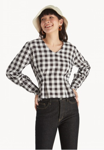 00619c6797d14 Pomelo black Gingham Long Sleeve Ruffle Hem Top - Black DB37DAA55E7594GS 1