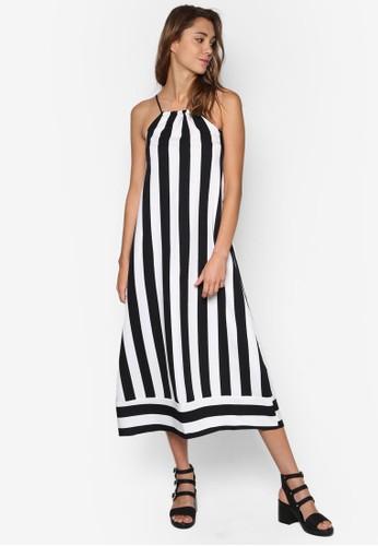 Pueesprit outlet台北bla 削肩條紋連身長裙, 服飾, 洋裝