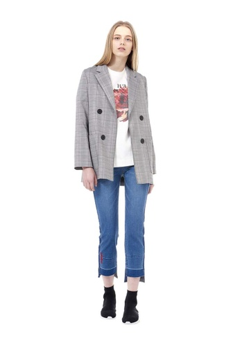 VOV(Voice of Voices) beige Checked Double-Breasted Blazer 87D0BAA8D3BD3FGS_1