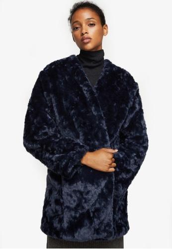 Mango navy Faux Fur Coat MA193AA0RVZDMY_1