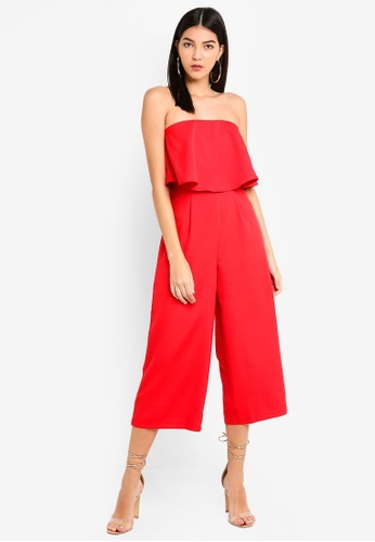 MISSGUIDED red Crepe Double Layer Culotte Jumpsuit DF162AA1ED743EGS_1